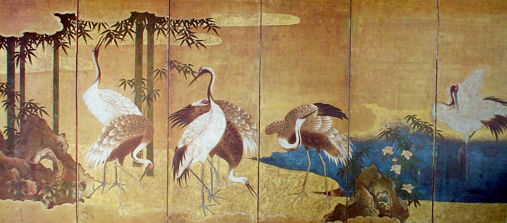 A Gathering Of Cranes by unknown Japanese