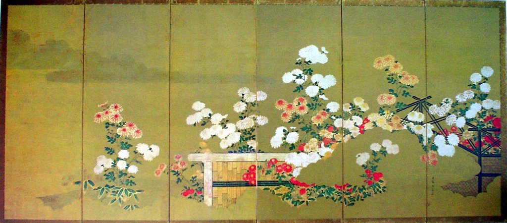 Chrysanthemums With Flower Cart by unknown Japanese