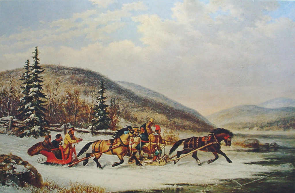 Sleigh Race Across The Ice by Cornelius Krieghoff