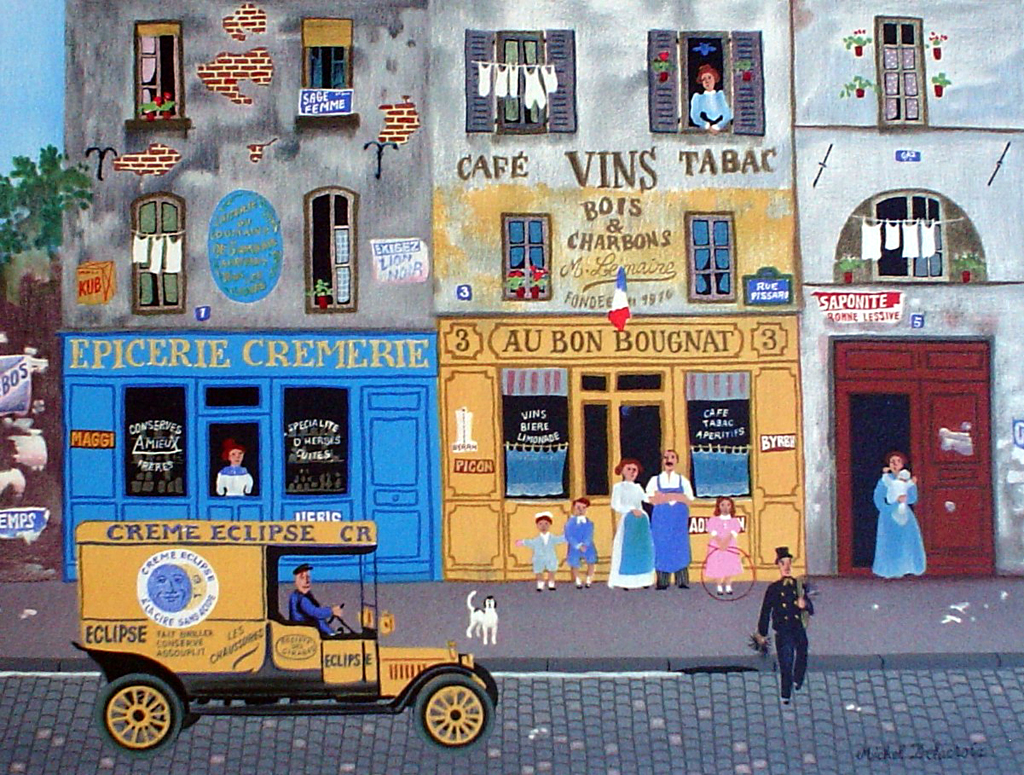 French Shops Street Scene by Michel Delacroix - limited edition lithograph print
