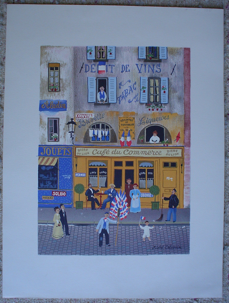 "Paris Street Scene with Cafe"" by Michel Delacroix (showing margins)"