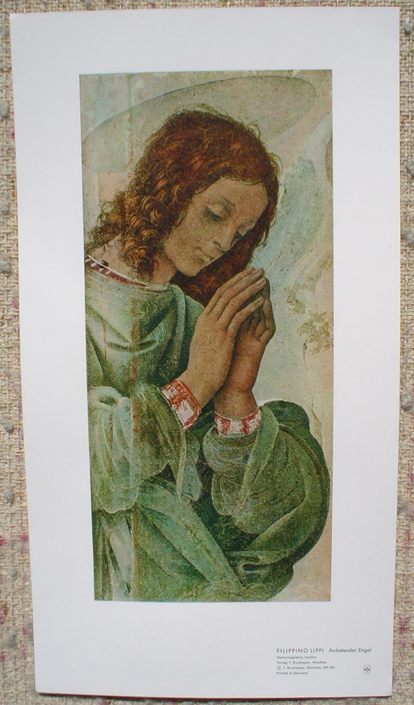 Praying Angel by Filippino Lippi, shown with full margins - collectible collotype fine art print