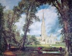 Salisbury Cathedral by John Constable - offset lithograph fine art print