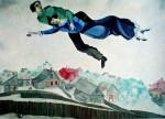 Lovers Above Town by Marc Chagall - offset lithograph fine art print