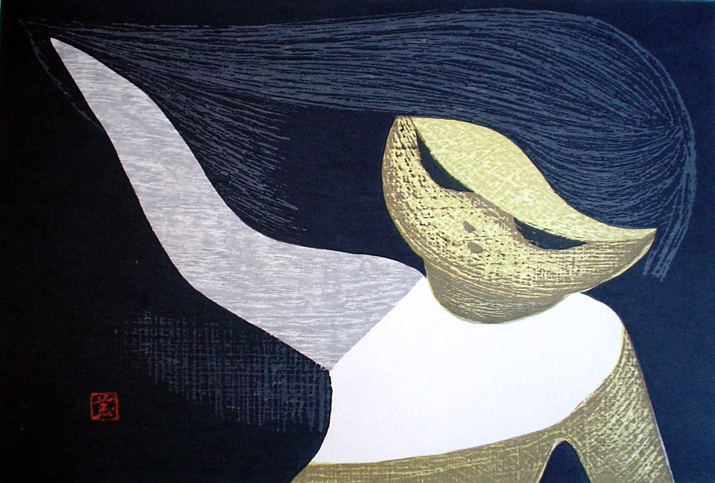 Gentle Breeze by Kaoru Kawano - original woodcut