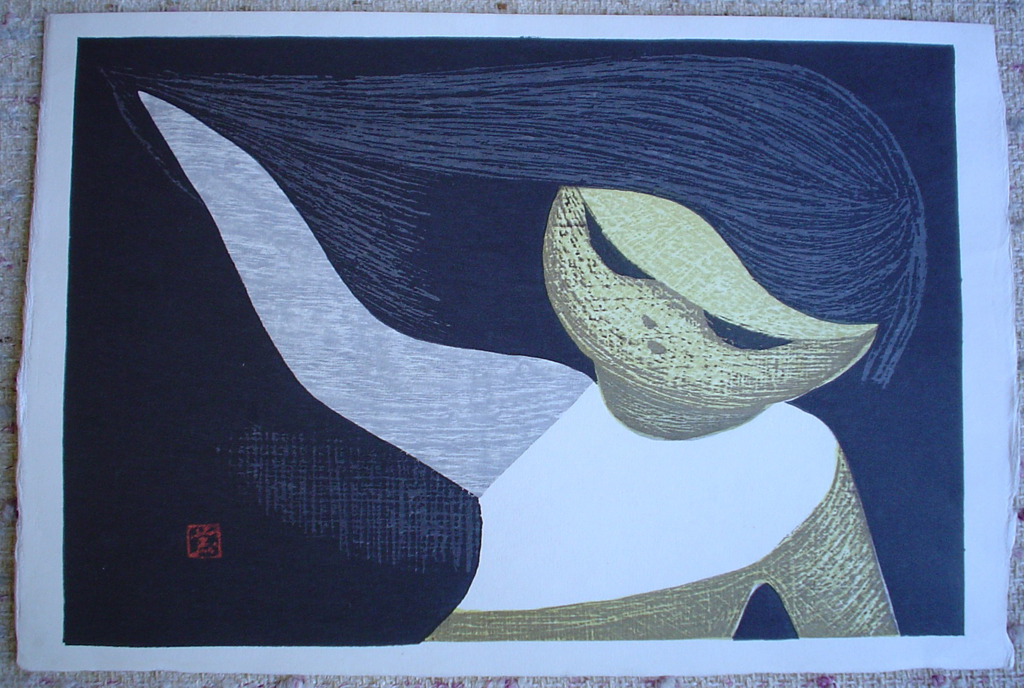 Gentle Breeze by Kaoru Kawano, shown with full margins - original woodcut