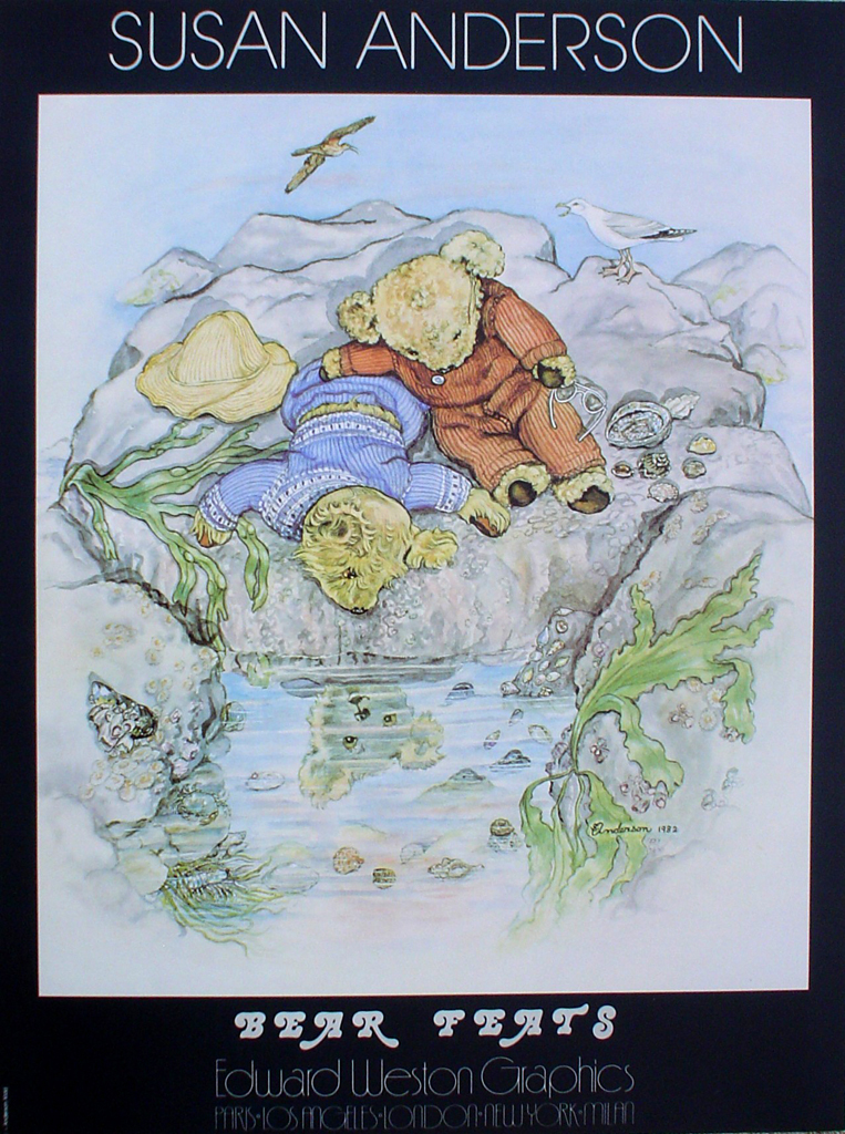 Bear Feats by Susan Anderson- offset lithograph fine art poster