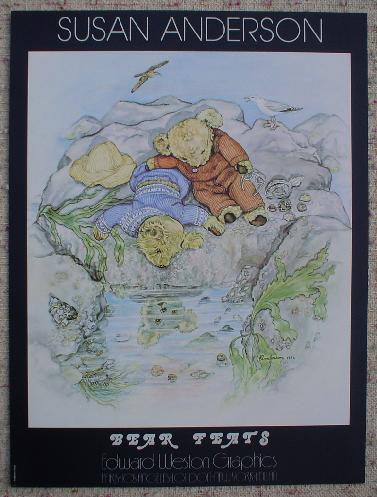 Bear Feats by Susan Anderson, shown with full margins - offset lithograph fine art poster