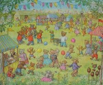 Teddy Bear Fete by Molly Brett - offset lithograph fine art print