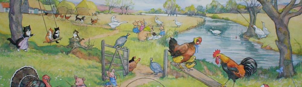 Springtime On The Farm by Molly Brett - offset lithograph fine art print