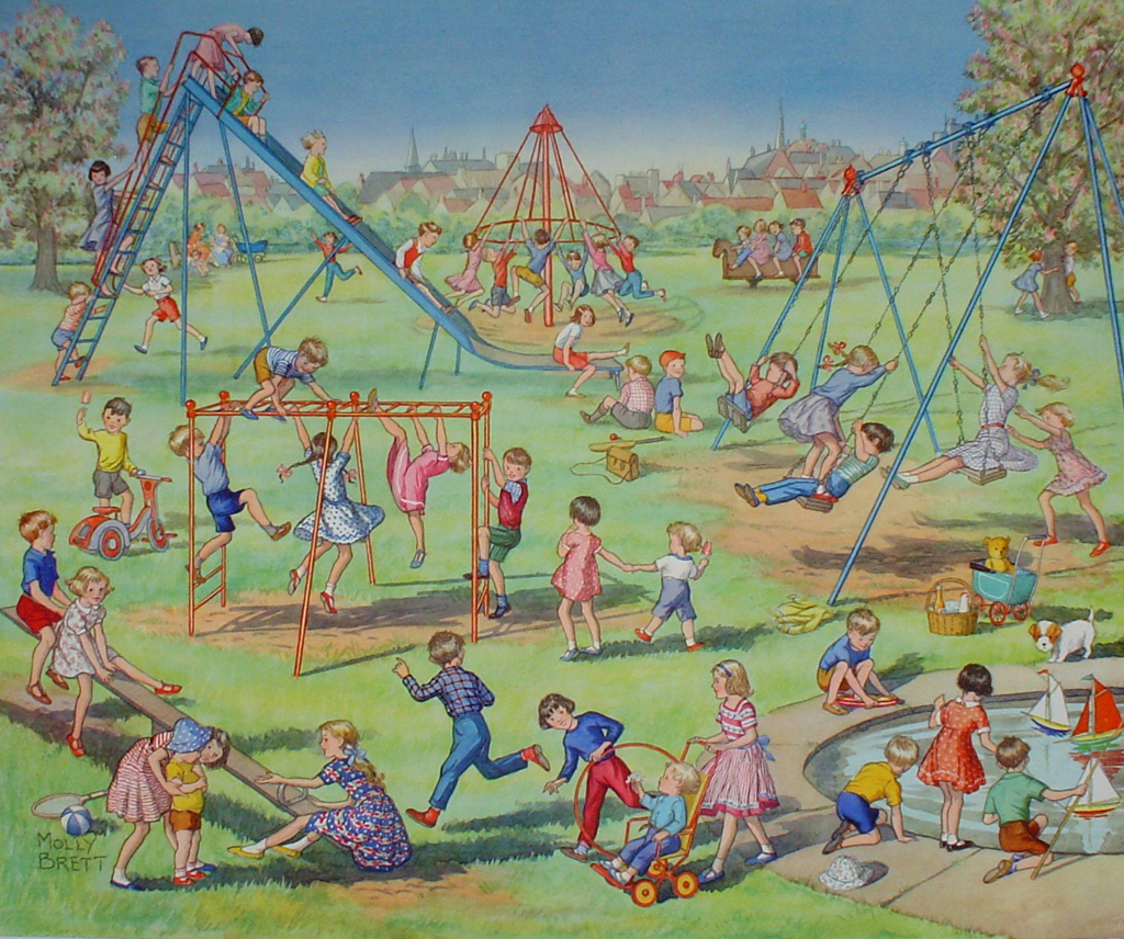Playtime 1959 by Molly Brett - offset lithograph fine art print