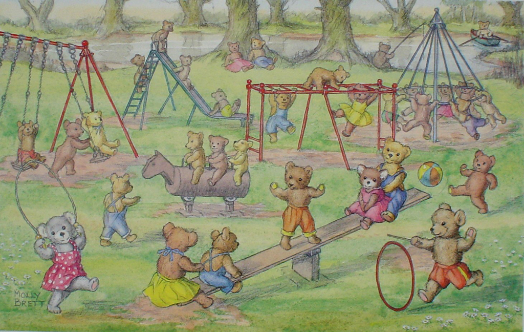 Teddy Bears' Playtime by Molly Brett - offset lithograph fine art print