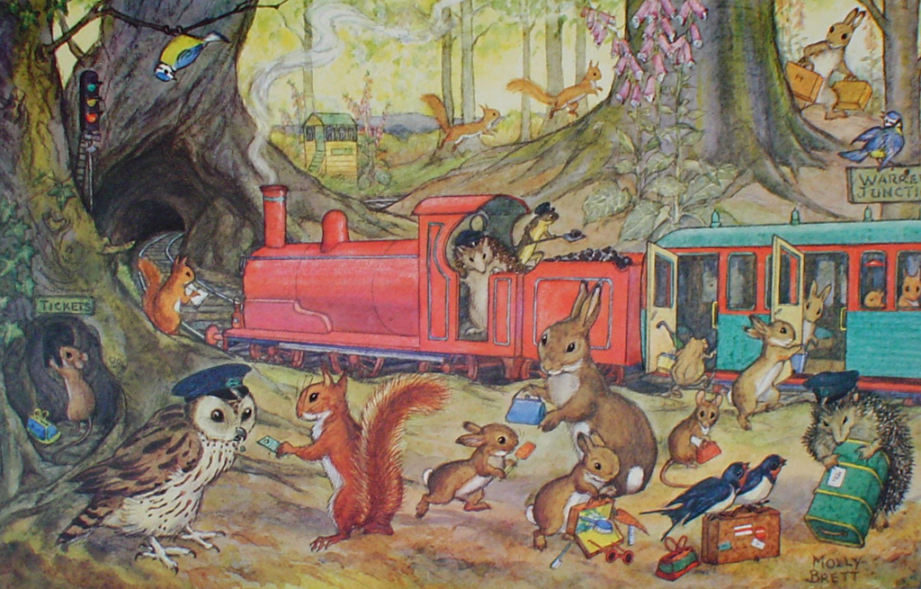 Catching The Train by Molly Brett - offset lithograph fine art print