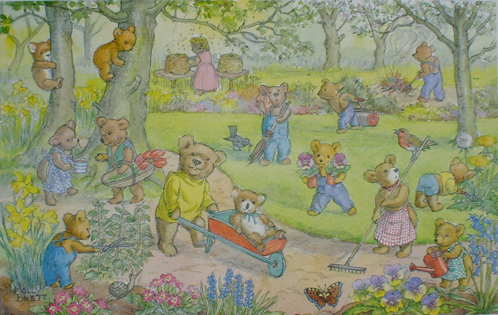 Teddy Bear Garden by Molly Brett - offset lithograph fine art print