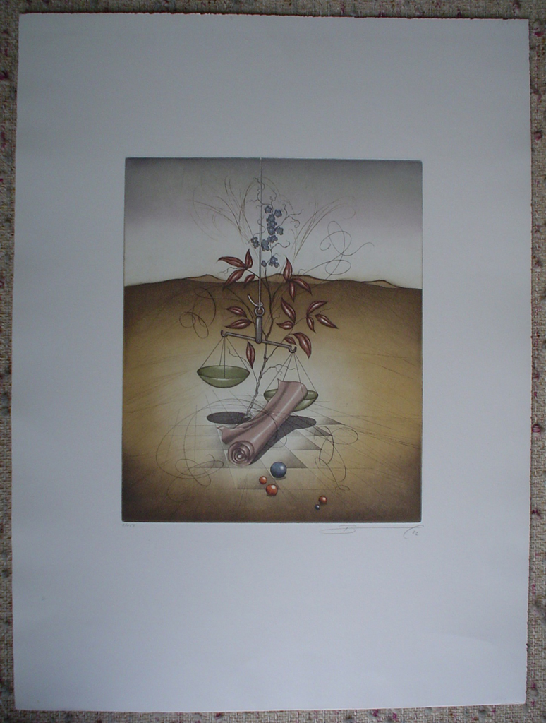 Waage / Libra by Ruediger Brassel, shown with full margins - original etching, signed and numbered 6/ 150