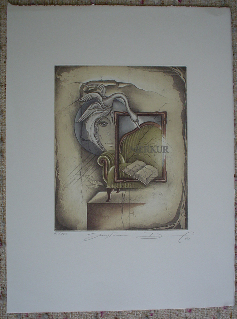 Jungfrau / Virgo by Ruediger Brassel, shown with full margins - original etching, signed and numbered 45/ 125