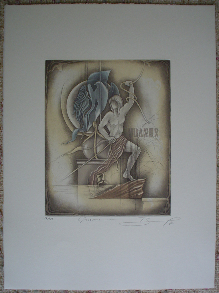 Wassermann / Aquarius by Ruediger Brassel, shown with full margins - original etching, signed and numbered 57/ 125