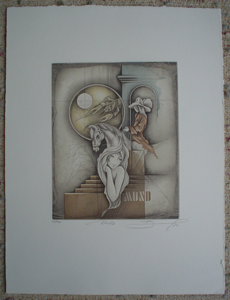 Krebs / Cancer by Ruediger Brassel, shown with full margins - original etching, signed and numbered 53/ 125