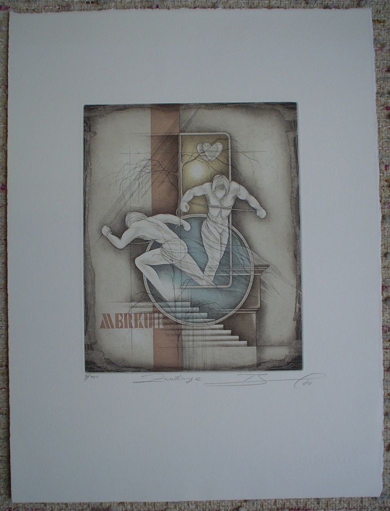 Zwillinge / Gemini by Ruediger Brassel, shown with full margins - original etching, signed and numbered 4/ 125