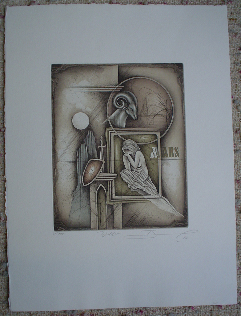 Widder / Aries by Ruediger Brassel, shown with full margins - original etching, signed and numbered 50/ 125