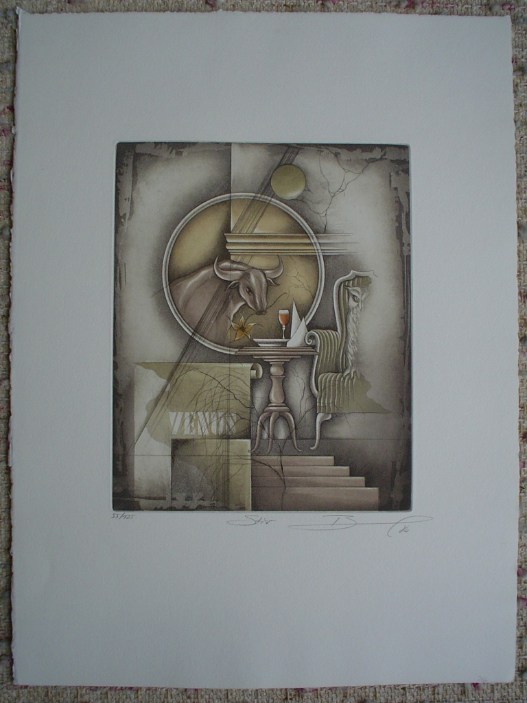 Stier / Taurus by Ruediger Brassel, shown with full margins - original etching, signed and numbered 55/ 125