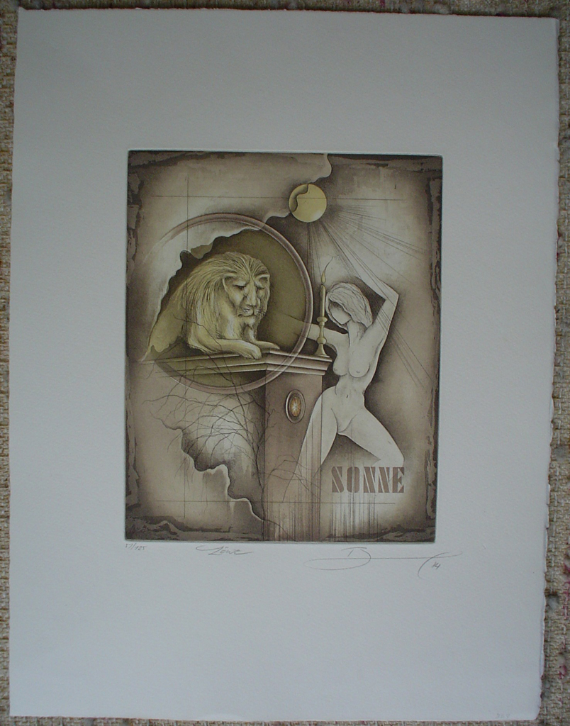 Loewe / Leo by Ruediger Brassel, shown with full margins - original etching, signed and numbered 57/ 125