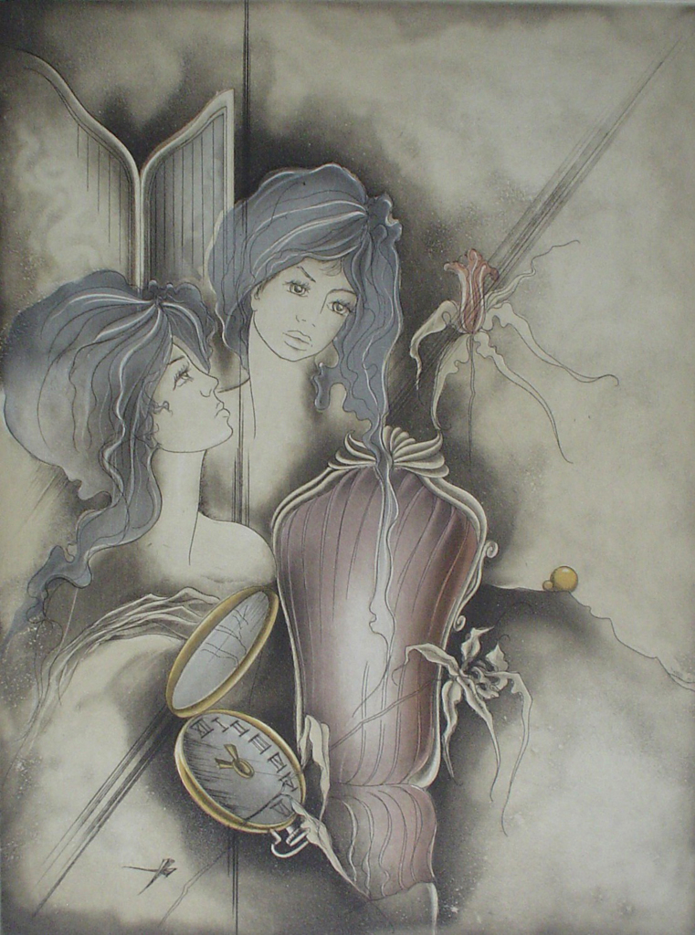 "Dreamscape Women Pocket Watch by Ruediger Brassel - original etching, signed and numbered as ""Muster"" (""Sample"")"