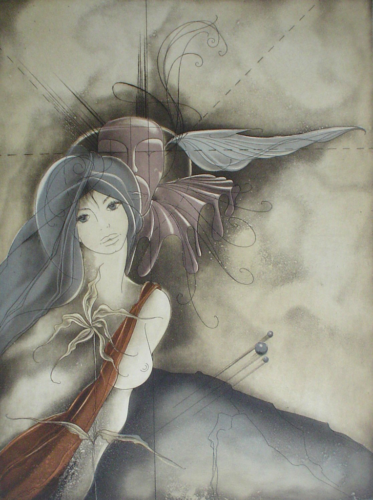 Dreamscape Woman Winged Whisperer by Ruediger Brassel - original etching, signed and numbered 8/ 99