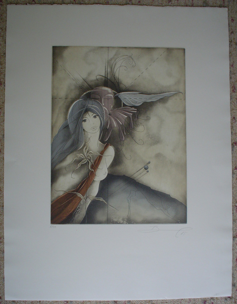 Dreamscape Woman Winged Whisperer by Ruediger Brassel, shown with full margins - original etching, signed and numbered 8/ 99