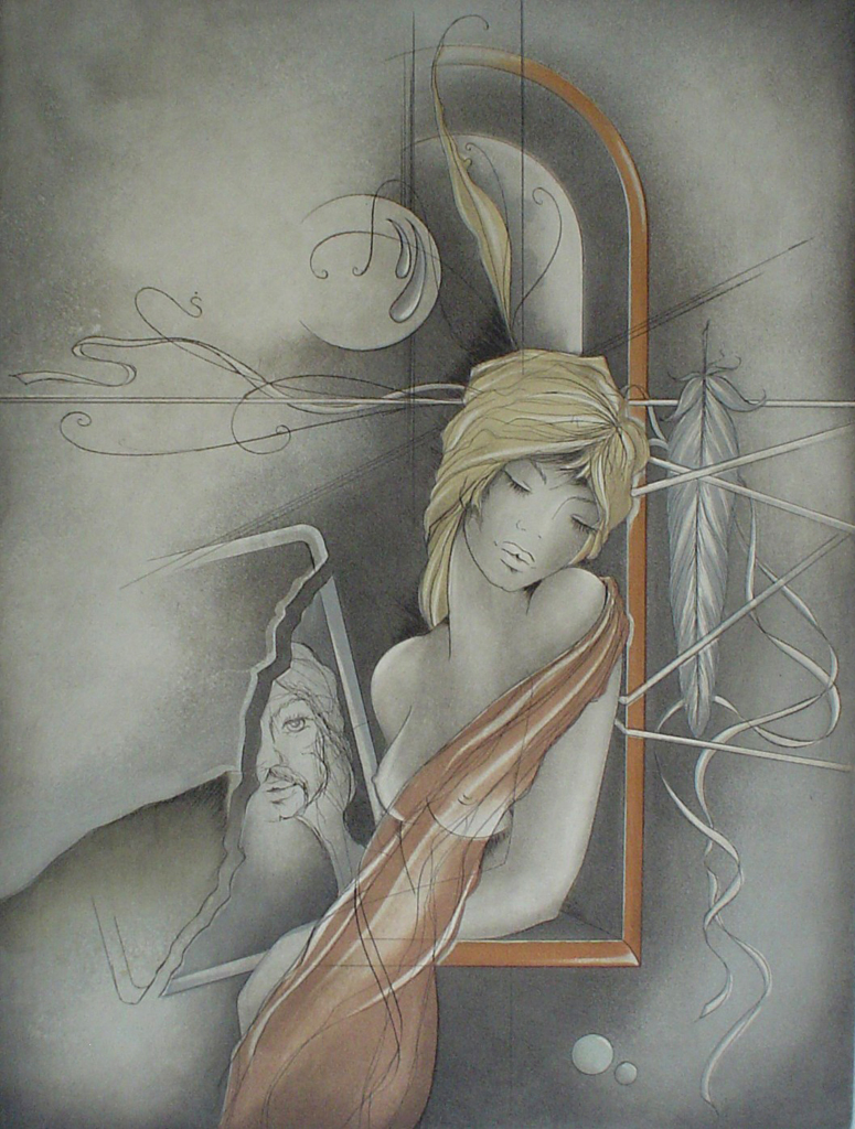 "Dreamscape Man Woman Feather by Ruediger Brassel - original etching, signed and numbered ""Muster""(Sample)"