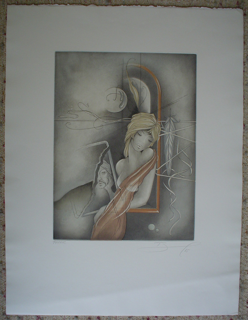 "Dreamscape Man Woman Feather by Ruediger Brassel, shown with full margins - original etching, signed and numbered ""Muster""(Sample)"