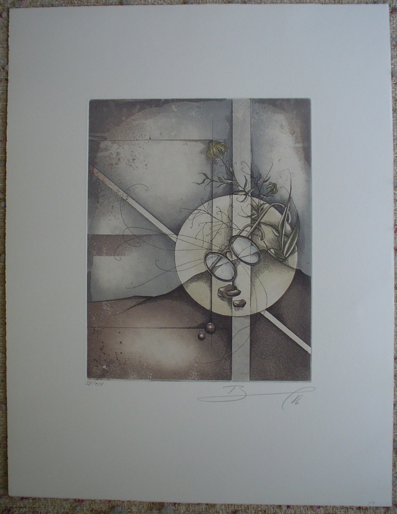 Eyeglasses 1986 by Ruediger Brassel, shown with full margins - original etching, signed and numbered 38/ 150