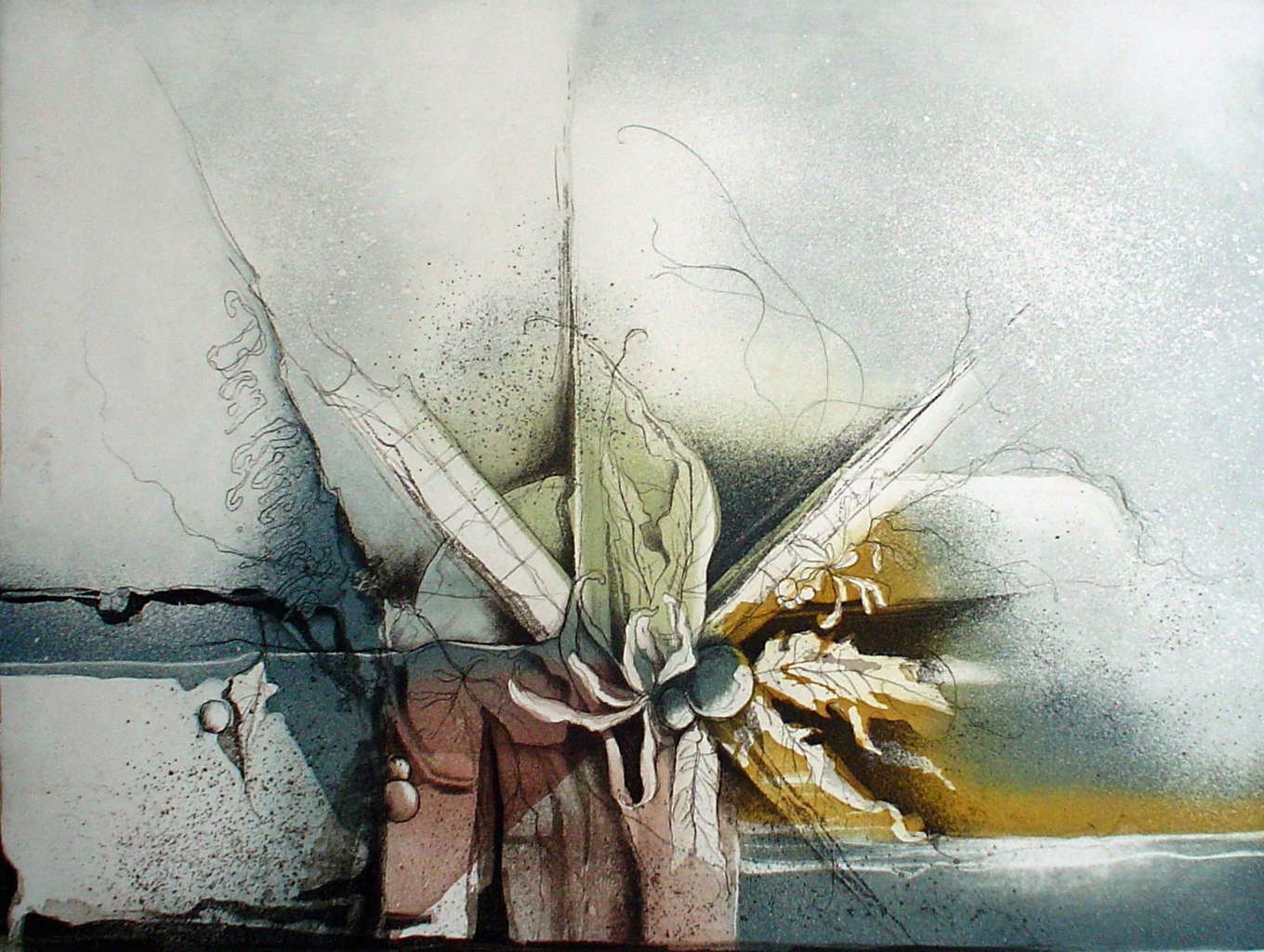 Blue Flower Autumn Colours by Ruediger Brassel - original etching, signed and numbered 75/ 99