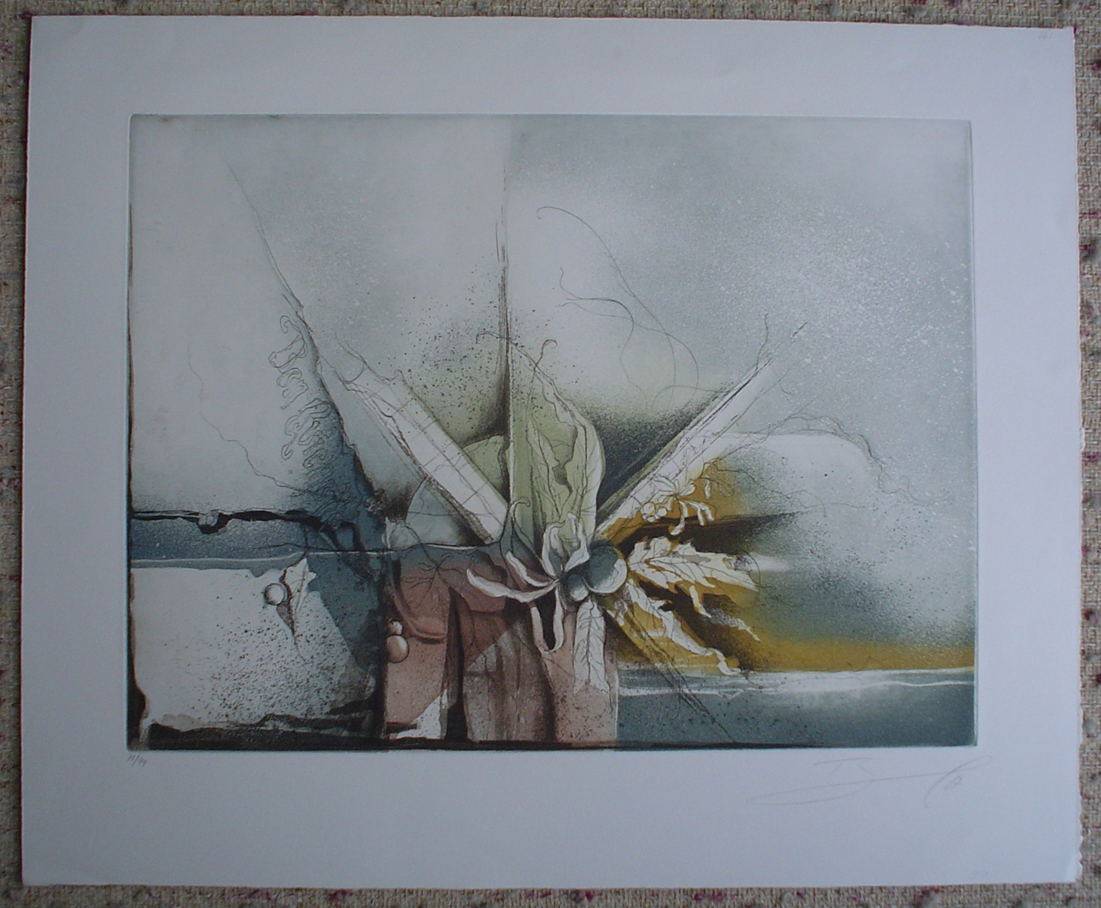 Blue Flower Autumn Colours by Ruediger Brassel, shown with full margins - original etching, signed and numbered 75/ 99