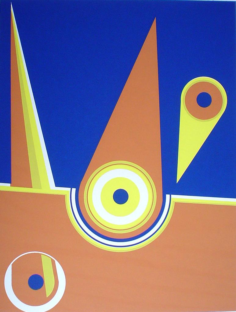 Angled Blue Orange '71 by Bervoest - original silkscreen, signed and numbered 20/ 60
