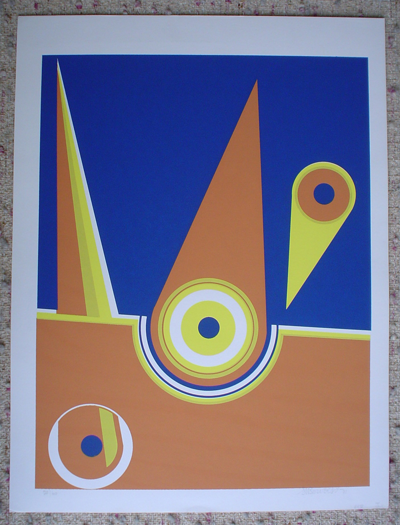 Angled Blue Orange '71 by Bervoest, shown with full margins- original silkscreen, signed and numbered 20/ 60