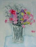 Pink Daisies In A Clear Vase by Barzano - original etching, signed and numbered 86/ 150