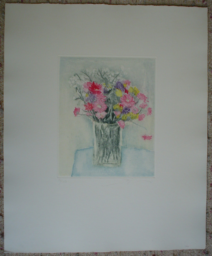 Pink Daisies In A Clear Vase by Barzano, shown with full margins - original etching, signed and numbered 86/ 150