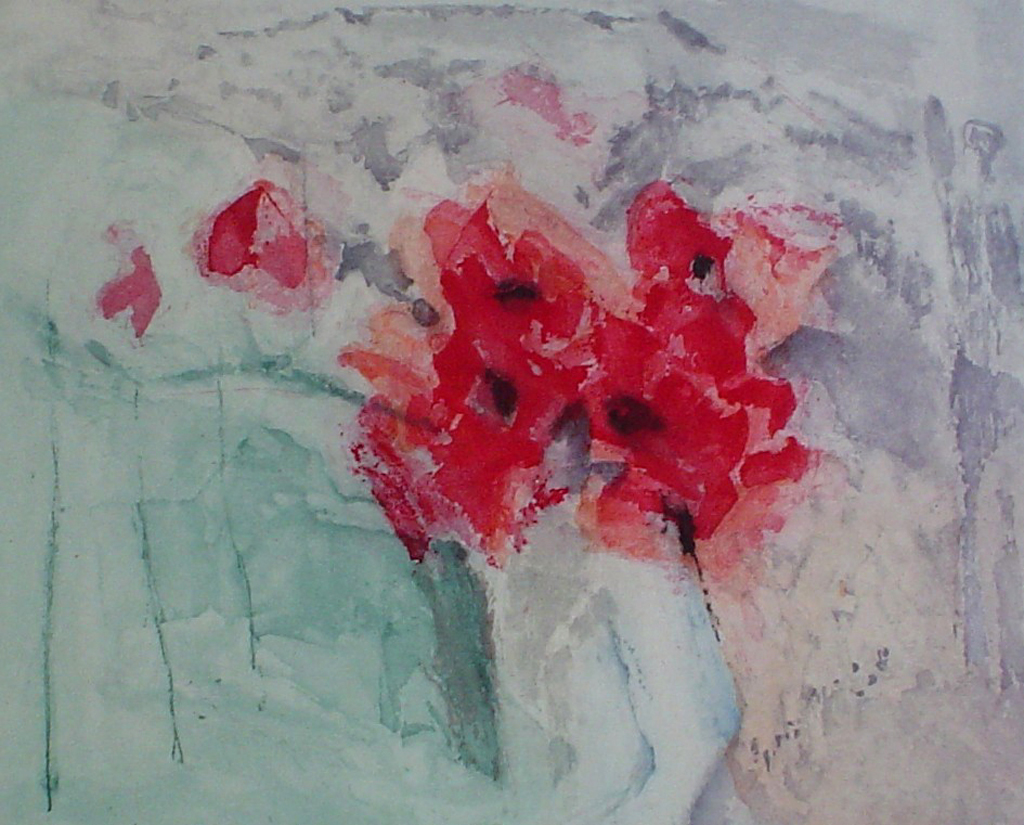 Red Flowers by Barzano, original etching, signed and numbered 36/ 150