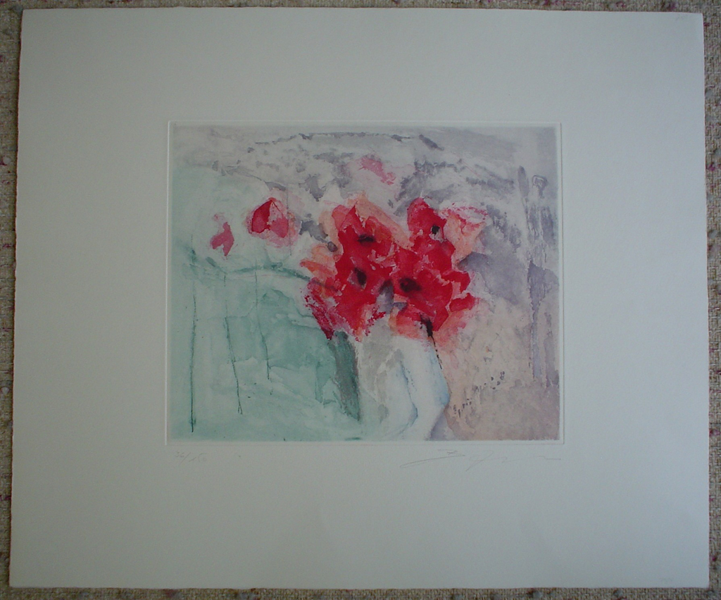 Red Flowers by Barzano, shown with full margins - original etching, signed and numbered 36/ 150