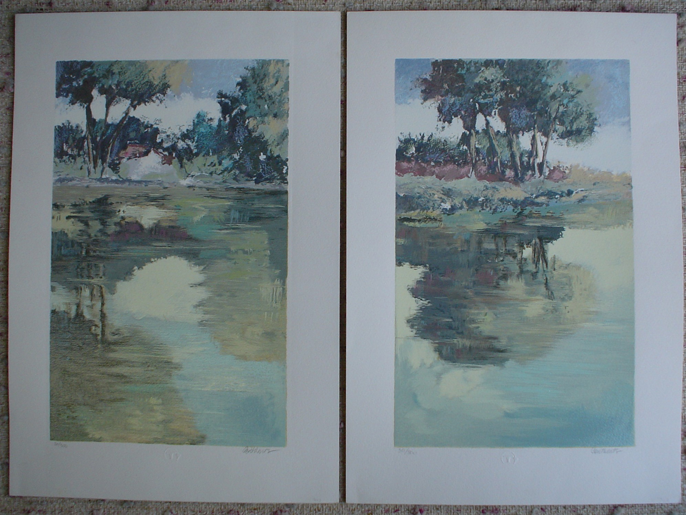Serenity 4 and Serenity 3 by Corthaus, group of 2 original silkscreens, signed and numbered edition of 300