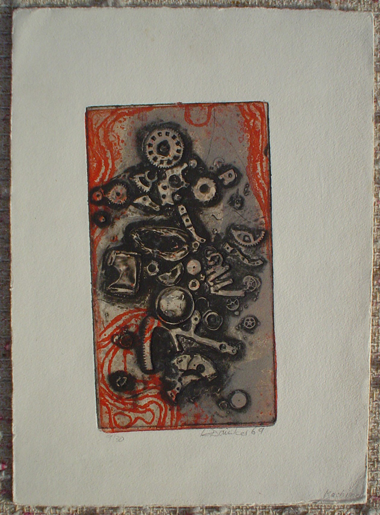 Machine 1969 by Klaus Daeniker, shown with full margins - original etching, signed and numbered 9/ 30