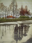 Canal En Automne by Francis Hebbelinck - original etching, signed and numbered 32/ 350
