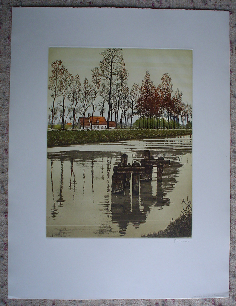 Canal En Automne by Francis Hebbelinck, shown with full margins  - original etching, signed and numbered 32/ 350