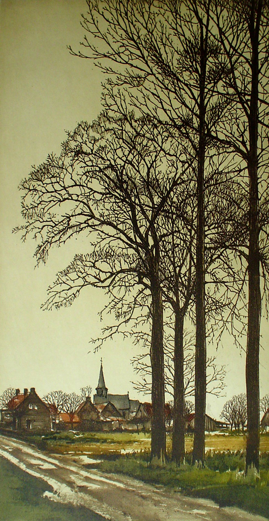 Le Matin by Roger Hebbelinck - original etching, signed and numbered 41/ 350