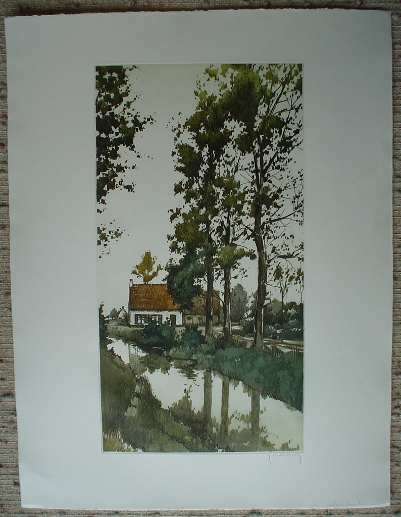 Reflets Dans Le Ruisseau by Roger Hebbelinck, shown with full margins - original etching, signed and numbered 106/ 350
