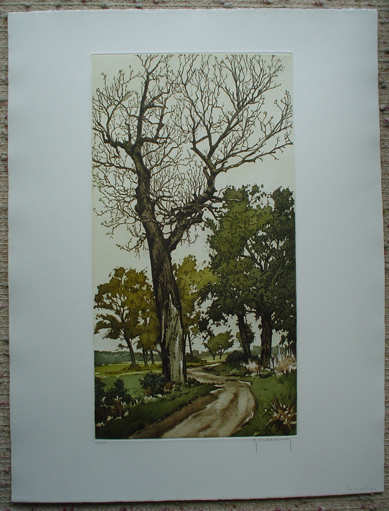 Le Sentier by Roger Hebbelinck, shown with full margins - original etching, signed and numbered 176/ 350