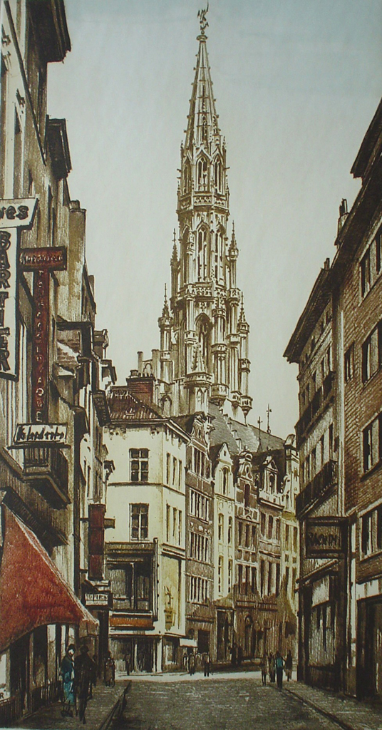 Brussels Rue Des Pierres by Roger Hebbelinck - original etching, signed and numbered 15/ 150