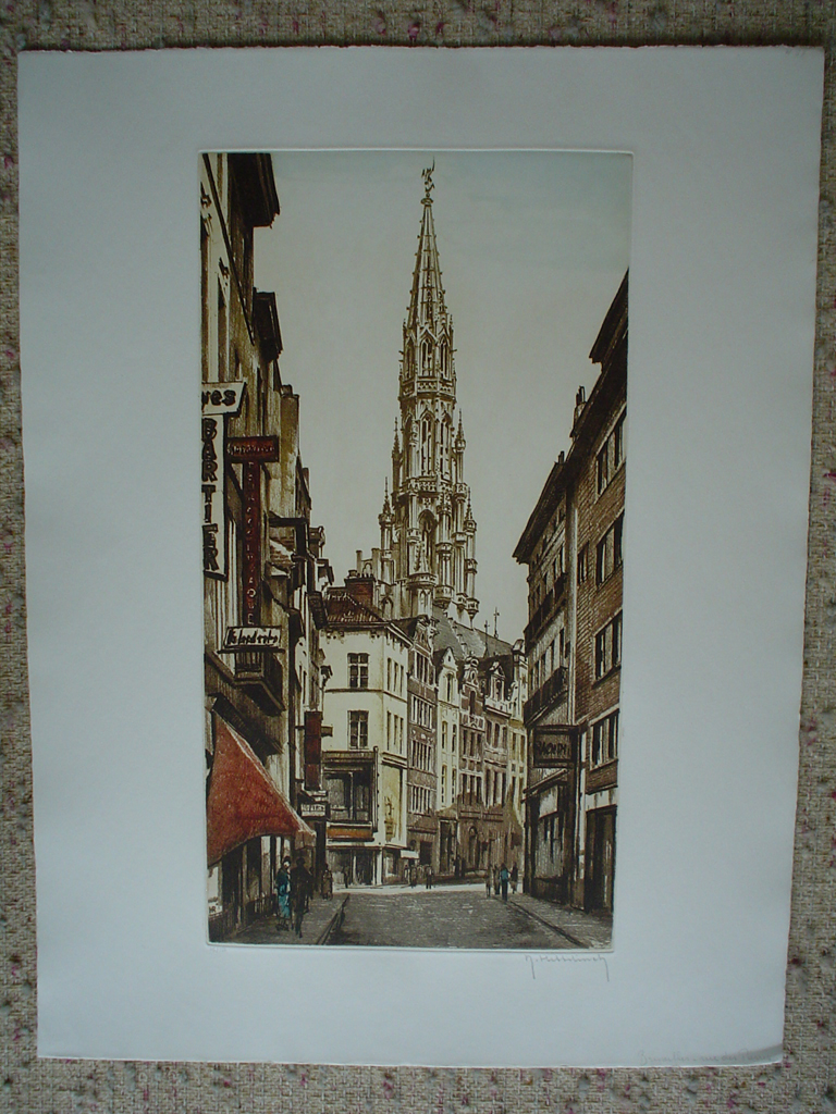 Brussels Rue Des Pierres by Roger Hebbelinck, shown with full margins - original etching, signed and numbered 15/ 150