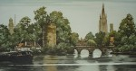 Bruges Minnewater by Roger Hebbelinck - original etching, signed and numbered 263/ 350